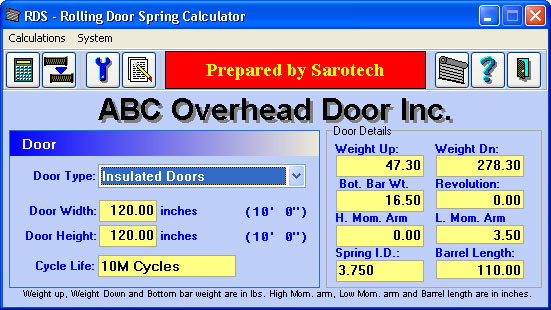 Garage door spring calculator software for Resi cost