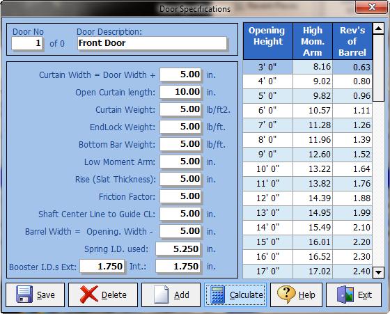 Torsion Spring Calculator For Rolling Doors Sarotech Inc